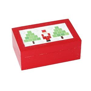 Xmasデザイン小箱 サンタクロース 木製 モザイクタイル