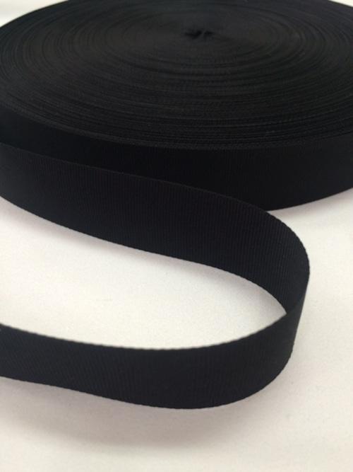 ナイロン 平織(グログラン)22mm幅 黒 1巻(50m)