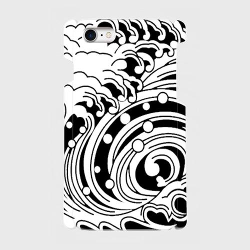 家紋模様、渦巻浪(黒) / iPhoneスマホケース(ハードケース)