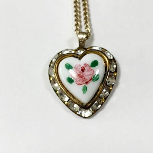 Vintage Heart Shaped Painted Milk Glass Pendant Necklace