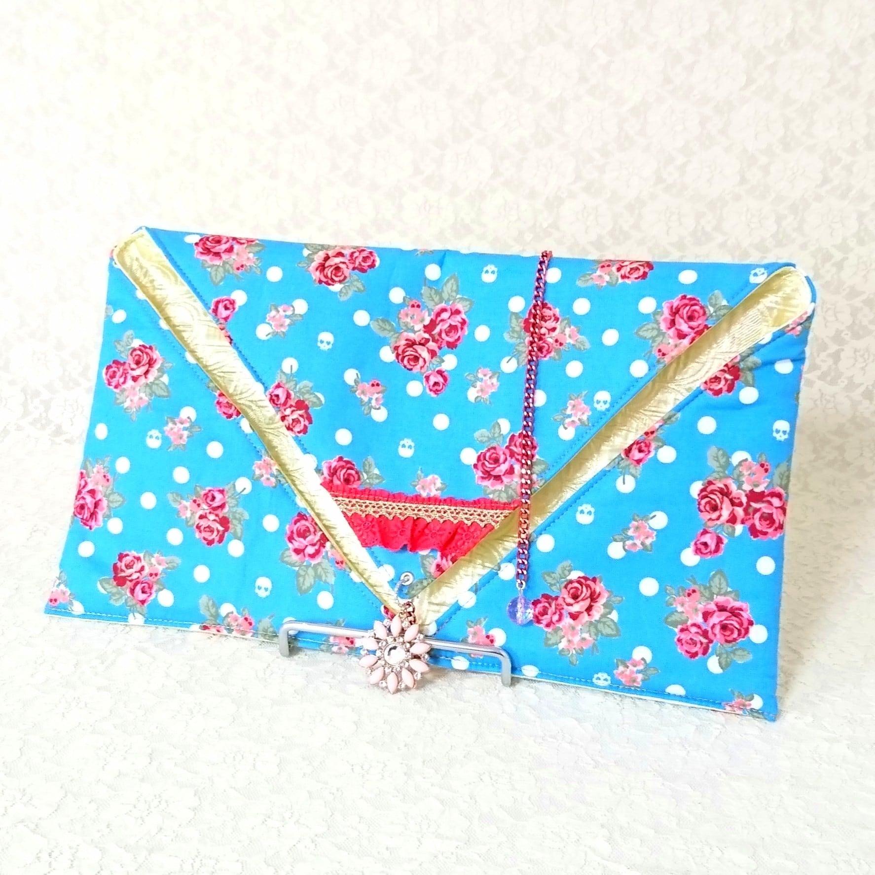 ファンベールケース【薔薇×お花チャーム】♪リバーシブル♪