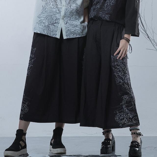 【卿棠シリーズ】★チャイナ風ガウチョパンツ★ ワイドパンツ 男女兼用 カップル服 メンズ カジュアル 黒