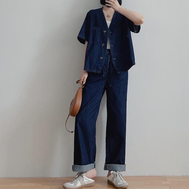 【セットアップ】デニムVネックシャツ&パンツ