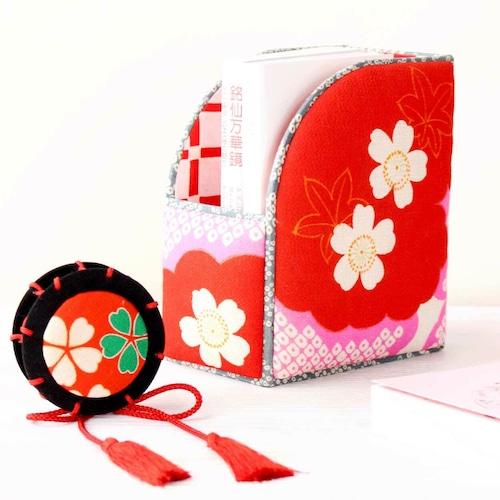 和風インテリア雑貨 ファイルBOX 赤 桜文様