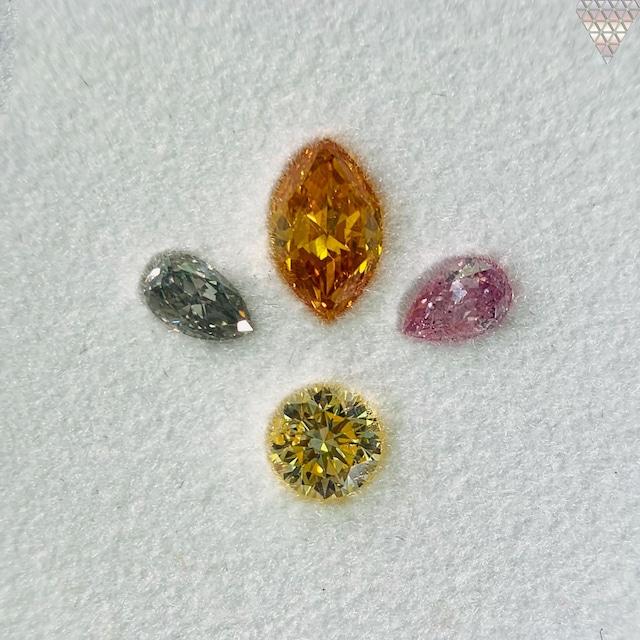 合計  0.68 ct 天然 カラー ダイヤモンド 4 ピース GIA  1 点 付 マルチスタイル / カラー FANCY DIAMOND 【DEF GIA MULTI】