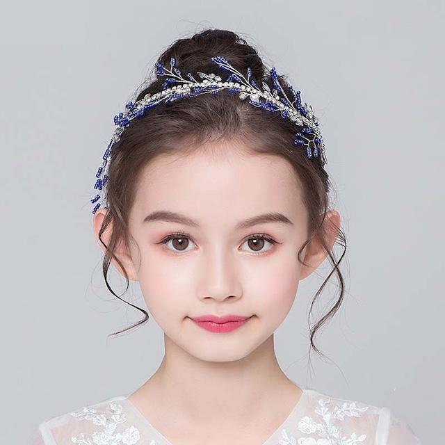 子供アクセサリー 子どもアクセサリー ヘアーアクセサリー 髪飾り ヘッドドレス キッズ 結婚式 入園式 プレゼント 合わせやすい ビーズ ラインストーン ブルー 青