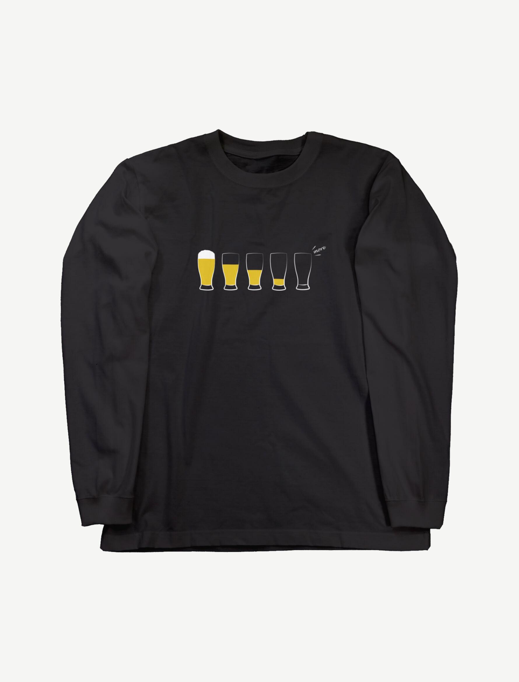 【モア・ビア】ロングスリーブTシャツ(ブラック)