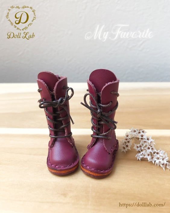 ロングブーツ パープル [ブライス] ドール 靴 本革
