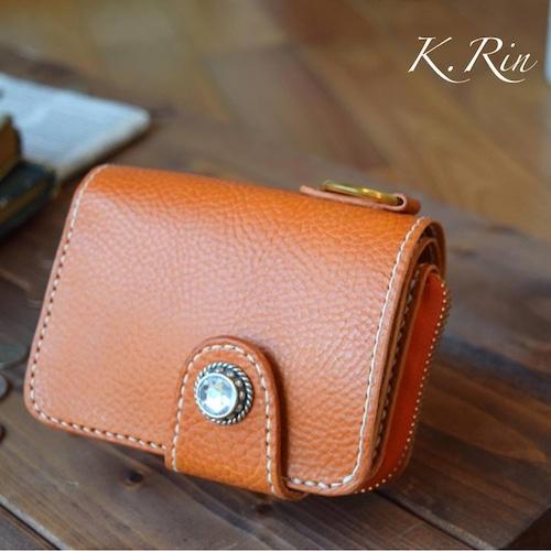 【オーダーメイド制作例】二つ折りラウンドファスナー財布(コンチョ付き)(KA089b2)
