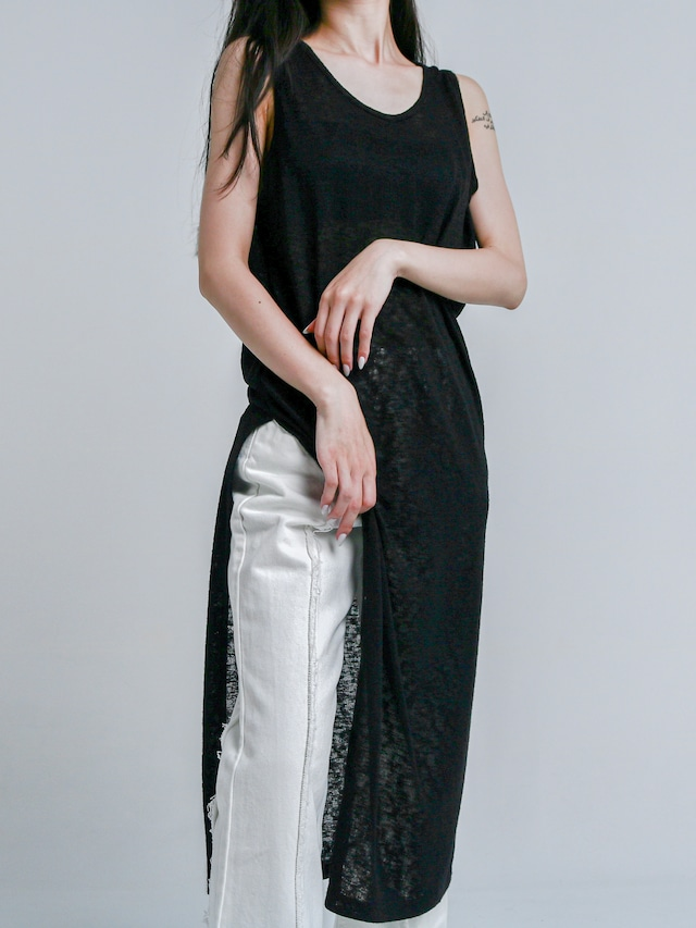 【WOMENS - 1 Size】SHEER NOSLEEVE ONEPIECE / 2colors