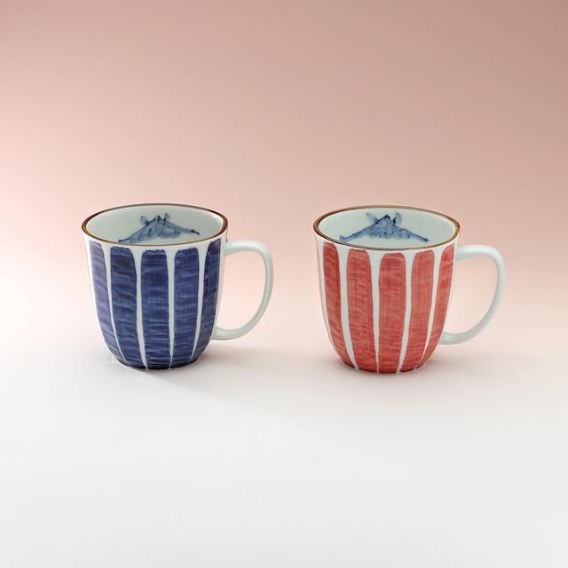 刷毛山水 軽々マグカップ(赤・青)