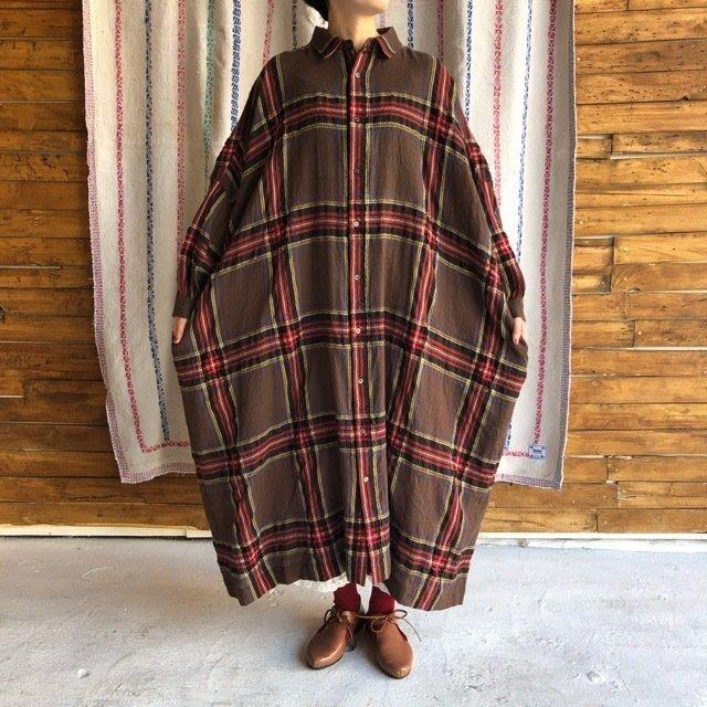 ICHI Antiquite's(イチ アンティークス) ウールタータンオーバーシャツドレス ブラウン