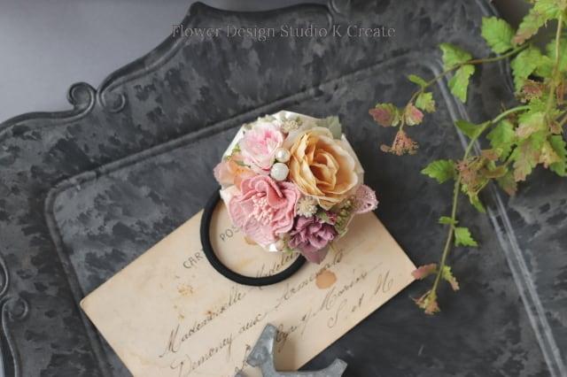 刺繍のお花と薔薇のヘアゴム リボン お花 ヘアゴム 髪飾り 秋色 お出掛け ヘアアクセサリー