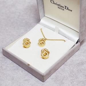 Christian Dior ディオール ネックレス イヤリング ラインストーン ゴールド アクセサリー