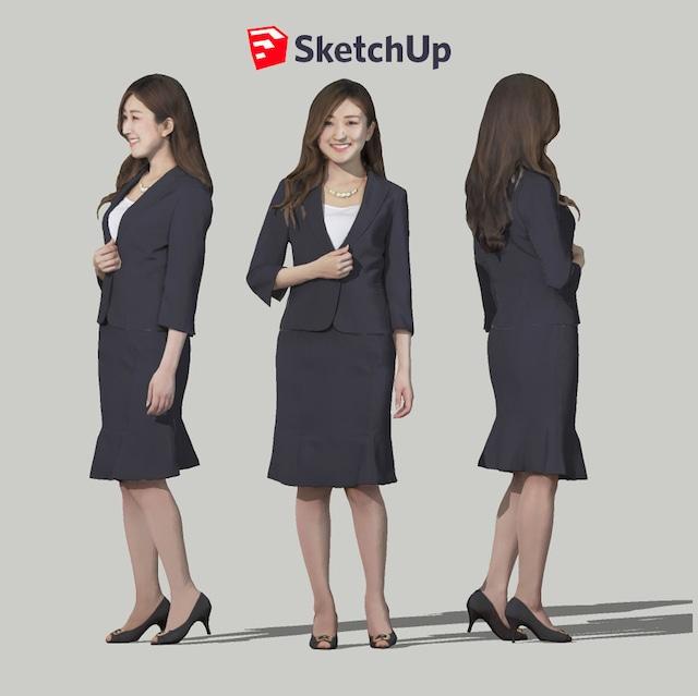 SketchUp素材 3D人物モデル ( Posed ) 055_Mao - メイン画像