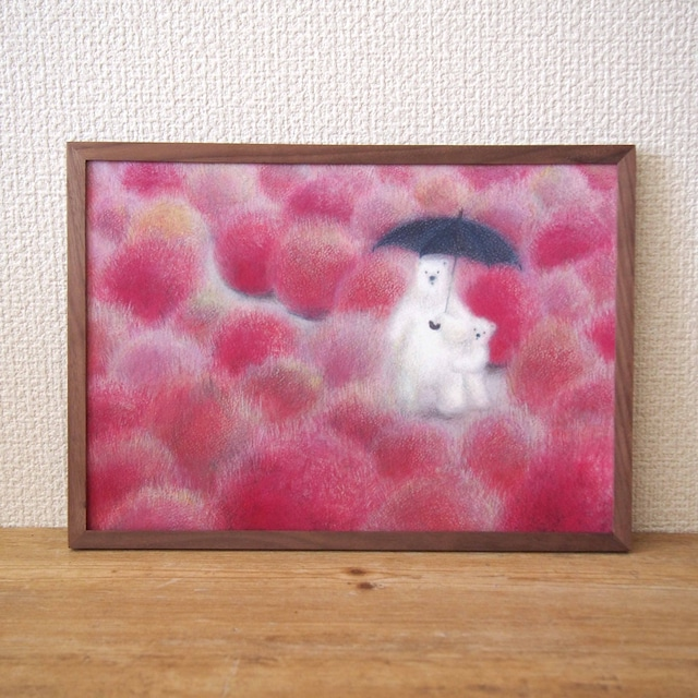 ポスター 「 ピンク色のコキア 」