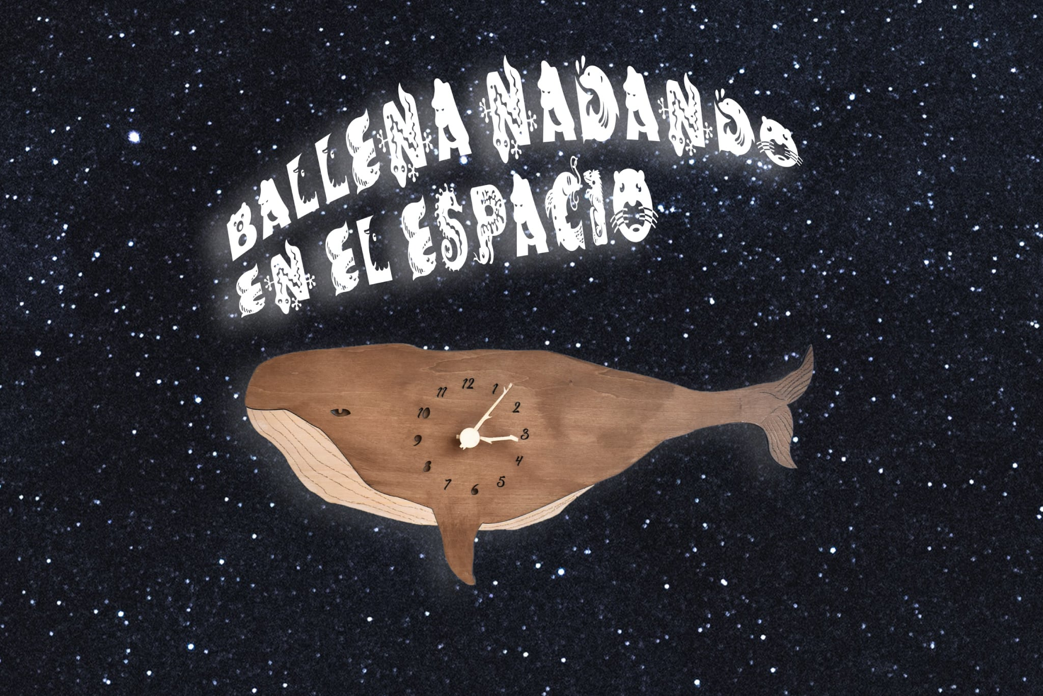 ナガスクジラが宇宙を泳ぐ時計 木製 掛け時計