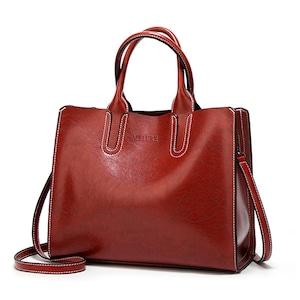 レディース PUレザーショルダーバッグ 毎日のショッピングに最適 トートバッグ ハンドバッグ White Red