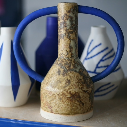 """Sophie Alda """"Extra large jug eared vase in bright blue and dappled brown"""""""