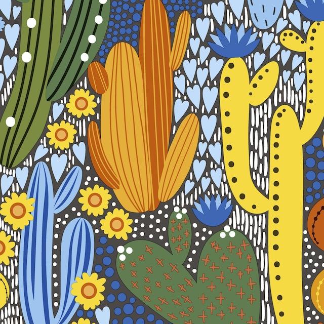 【Paper+Design】バラ売り2枚 ランチサイズ ペーパーナプキン Cacti color ブルー