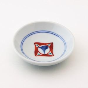 砥部焼 3寸丸皿 赤ペン 梅山窯
