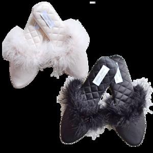 Quiltingfur feather slipper / キルティング ファー スリッパ
