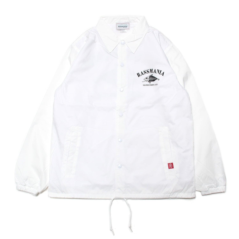 【bassmania×グランダー武蔵】スケルトンデザインコーチジャケット [WHT]【限定受注生産】【3月中~下旬配送】