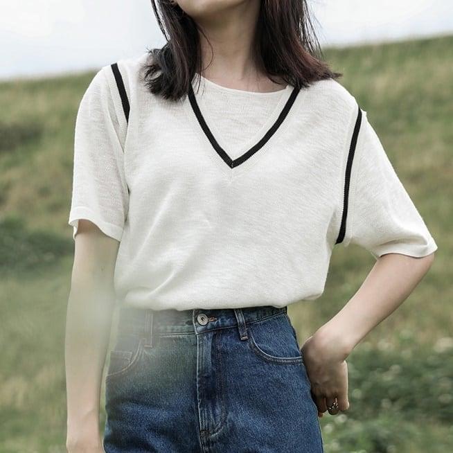 Fake two piece summer knit(フェイクツーピースサマーニット)b-353