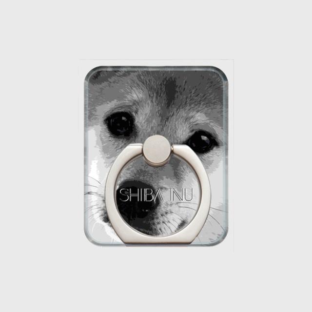 柴犬 おしゃれな犬スマホリング【IMPACT -shirokuro- 】