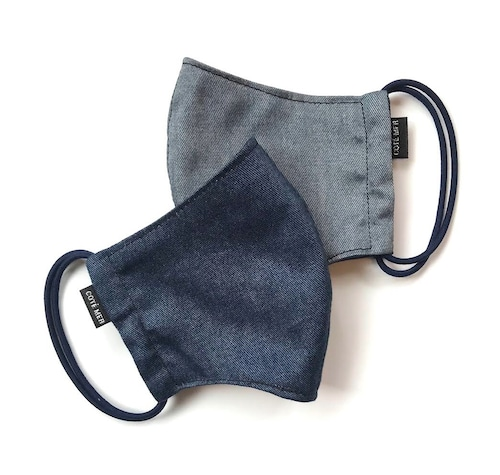 【新作夏用プリントデニムマスク2枚セット 吸水速乾COOLMAX使用 日本製】インディゴ×オーシャンブルー色