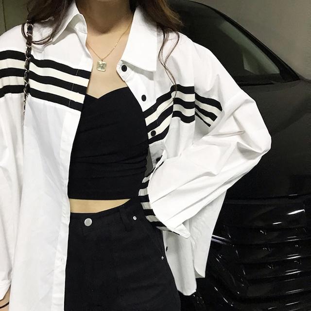 【トップス】フェミニン長袖ストライプ柄ボタンシャツ43009998