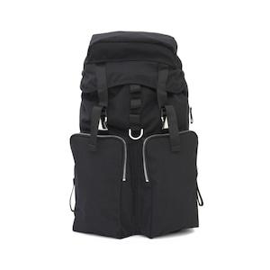 LORINZA Cordura Nylon Double Pocket Backpack Black LO-STN-BP05