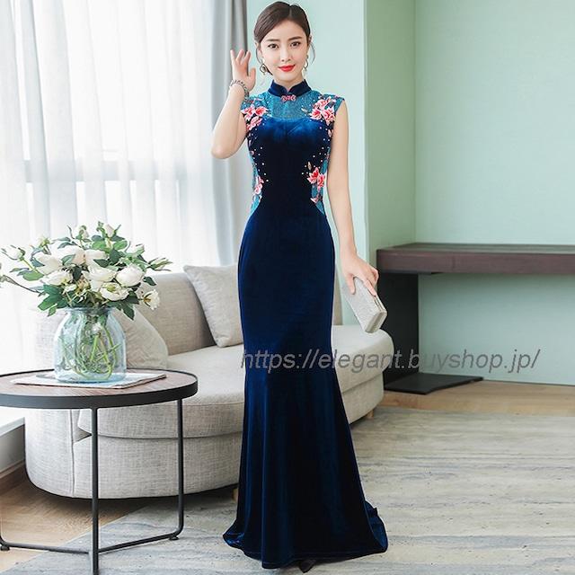 チャイナ風ワンピース ベルベットチャイナドレス ロング丈チャイナドレス チャイナ風服 中華服 大きいサイズ M L LL 3L 4L 5L 女子会 二次会 半袖 ブルー 青い