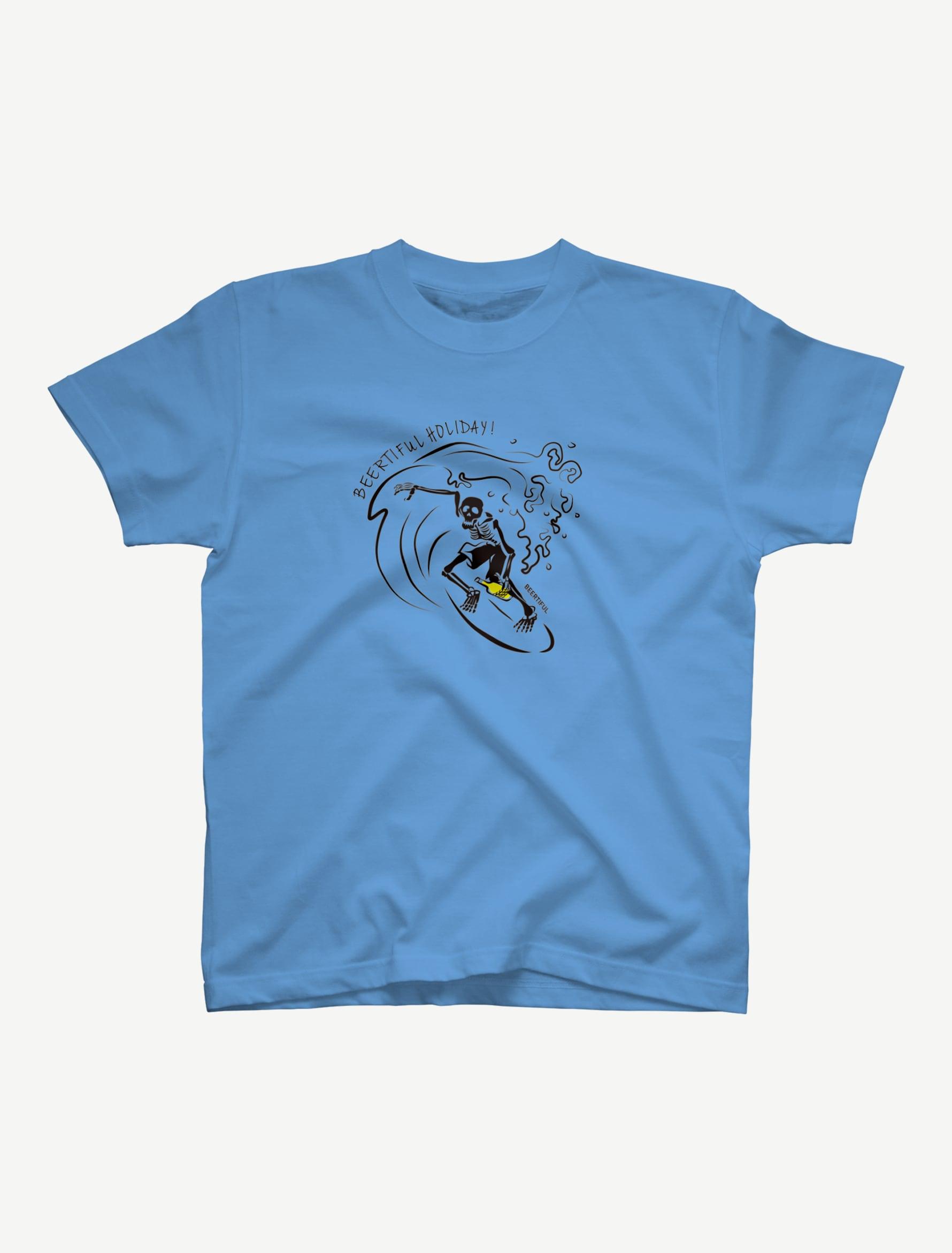 【サーフィンガイコツ】Tシャツ(サックス)