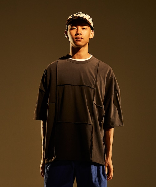 Patchwork Wide Silhouette Tee -charcoal <LSD-BJ1T7>