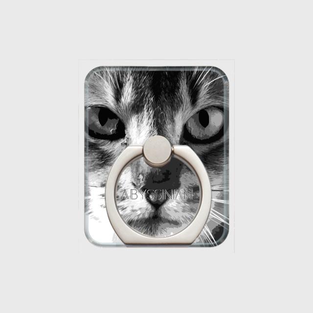 アビシニアン おしゃれな猫スマホリング【IMPACT -shirokuro- 】