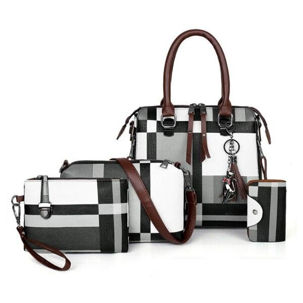 チェック柄 高級ハンドバッグ 2020タッセル財布とハンドバッグセット4ピースバッグ ボルサフェミニナ Black