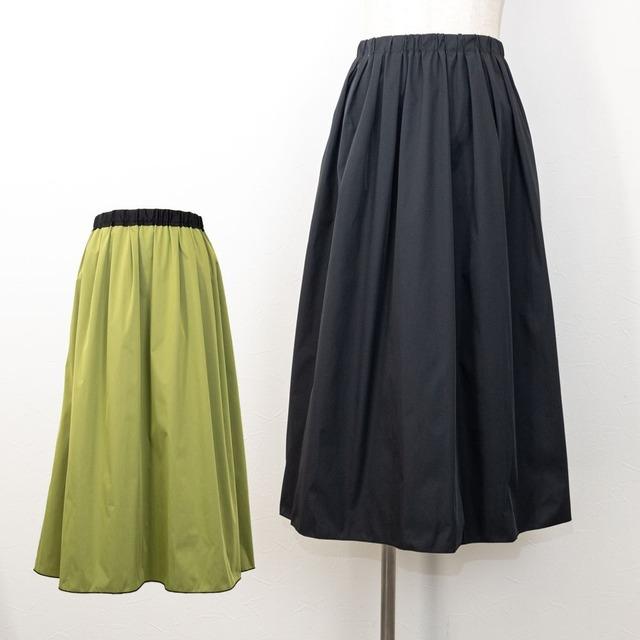 【PASSIONE/パシオーネ】メモリータフタリバーシブルギャザースカート(ブラック×モスグリーン)