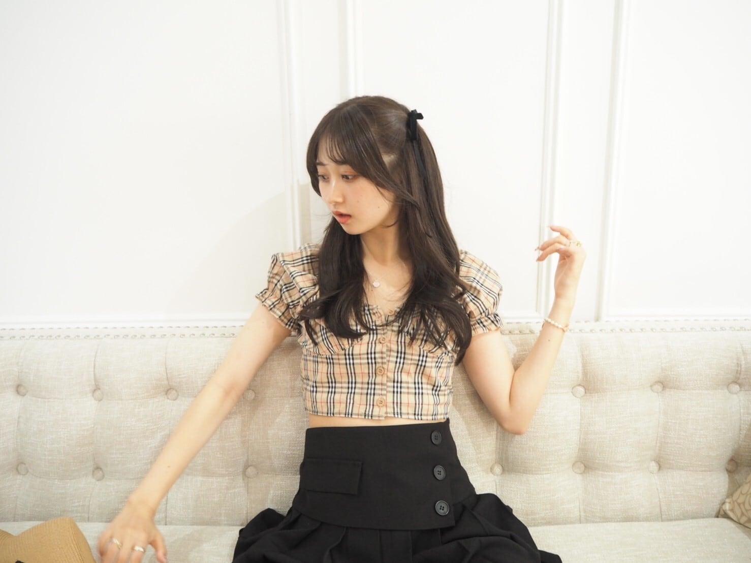 【Renonqle】side button pleats skirt