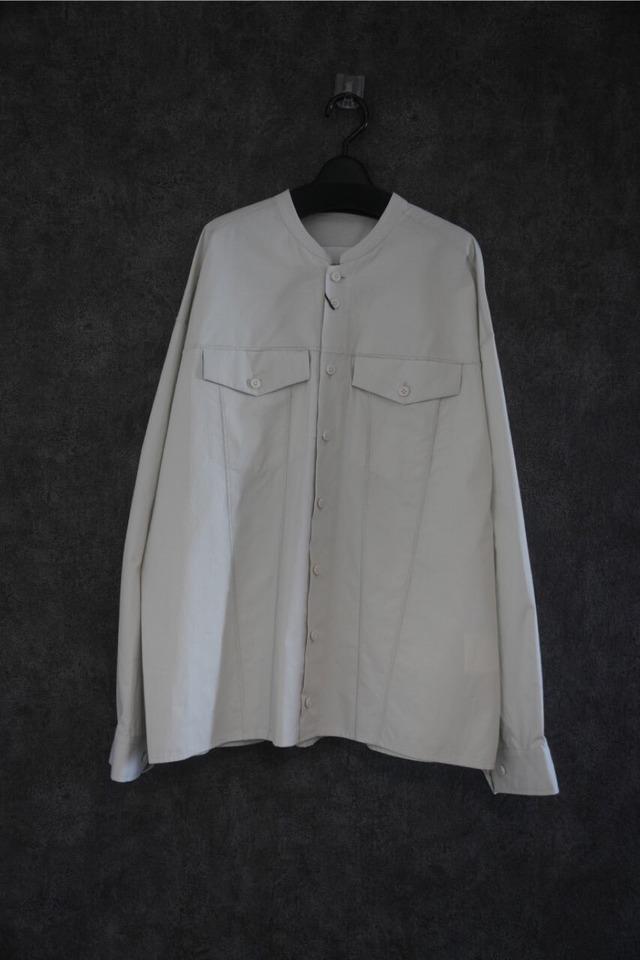 VOAAOV Organic Cotton Broad Collarless shirt  light gry