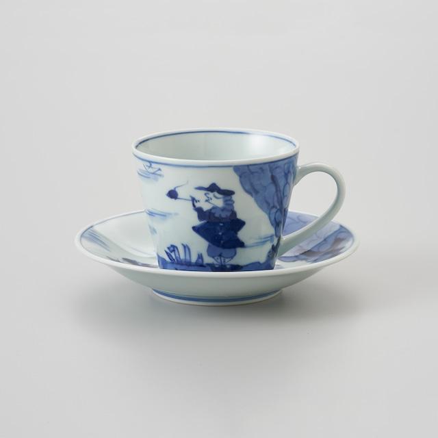 """【青花】""""二人異人"""" ソバ型コーヒー碗皿"""