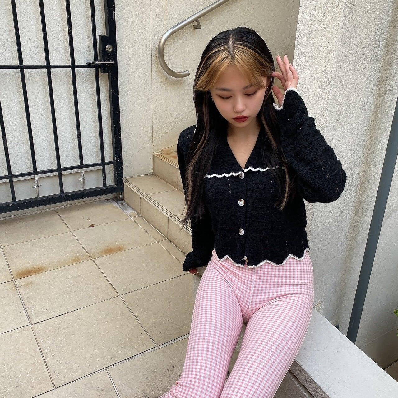 【Belle】frill collar cardigan / black