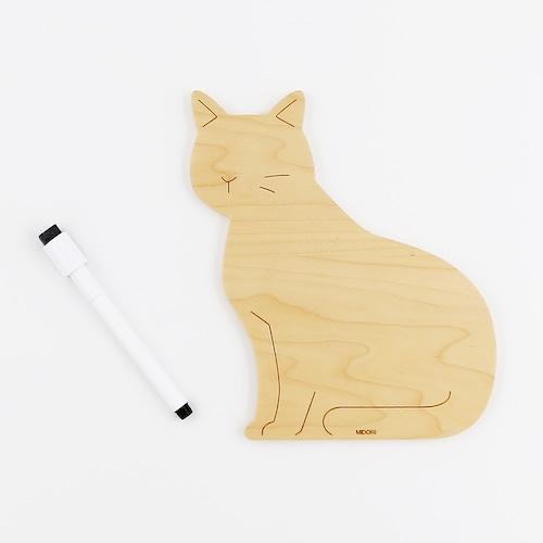 猫ホワイトボード(木のホワイトボードM)木製猫柄