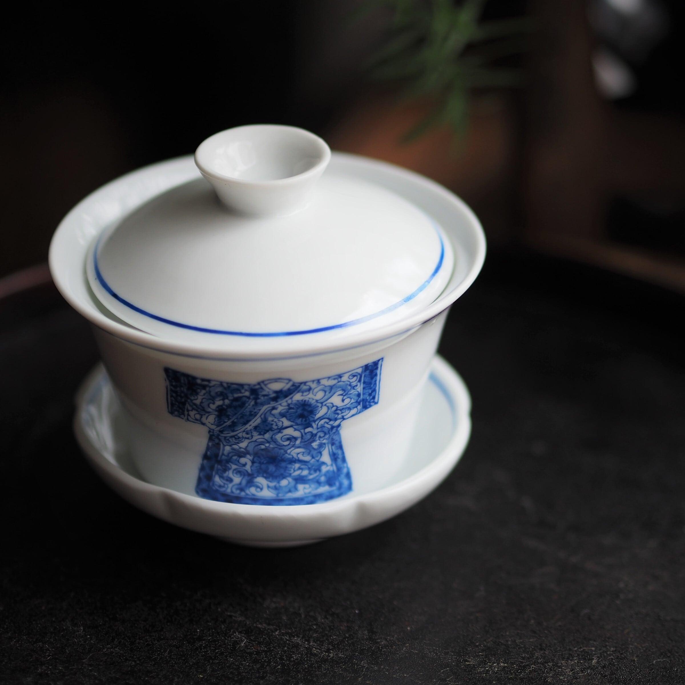 『手描き/チャイナ服の蓋碗』Blue&White/香港