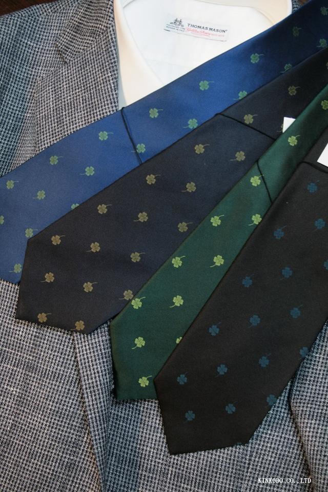 四つ葉のクローバーのジャガード織り  クローバー柄のネクタイ