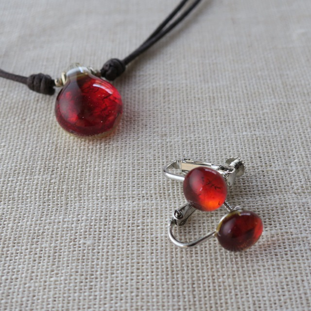 canary104  とんぼ玉ネックレス&イヤリング / glass beads and accessories
