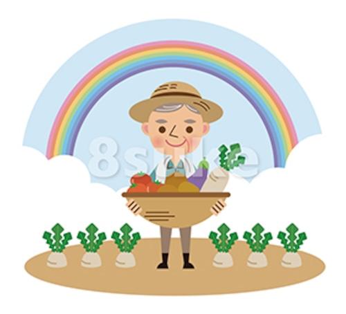 イラスト素材:収穫した野菜を持つ農夫/背景あり(ベクター・JPG)