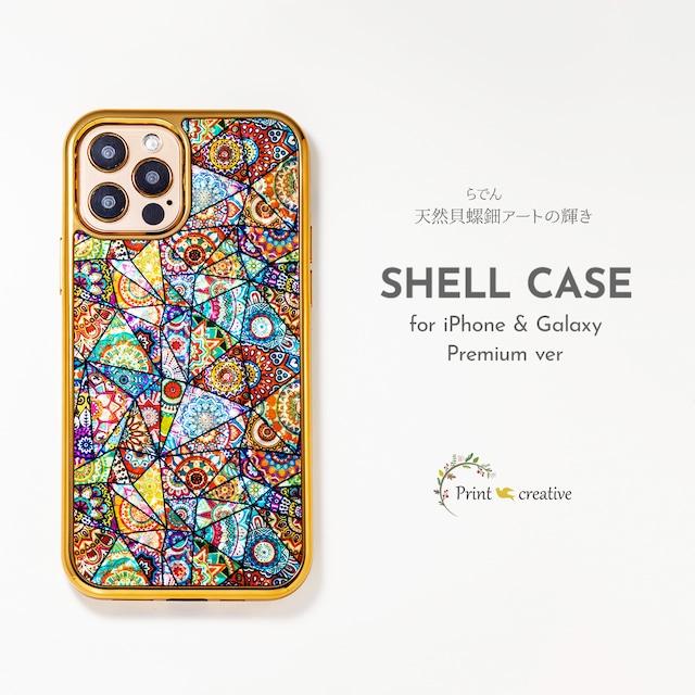 【iPhone13対応】天然貝シェル★ハーモニー(iPhoneプレミアムケース)|螺鈿アート