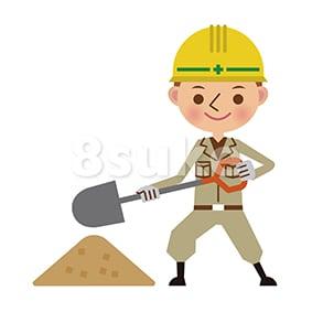 イラスト素材:シャベルで土を盛る土木作業員(ベクター・JPG)