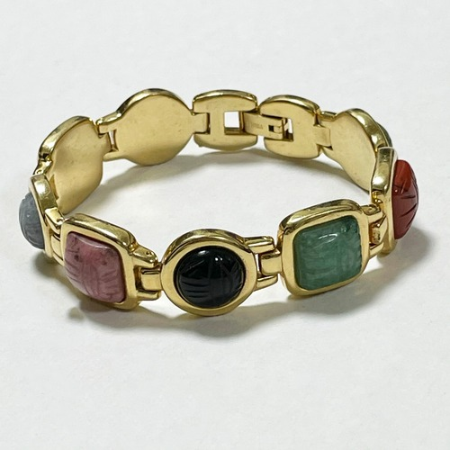 Vintage Scarab Multicolor Gemstone Bracelet